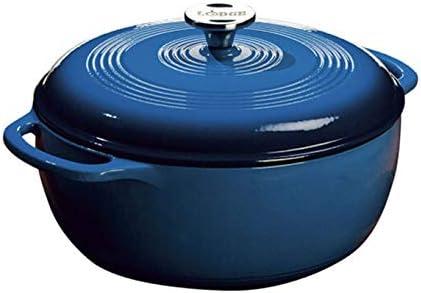 Amazon Com Lodge 6 Quart Enameled Cast Iron Dutch Oven Blue Enamel Dutch Oven Blue Kitchen Dining