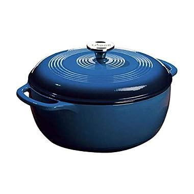 Lodge 6 Quart Enameled Cast Iron Dutch Oven. Blue Enamel Dutch Oven (Blue)