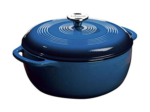 Lodge 6 Quart Enameled Cast Iron Dutch Oven. Blue Enamel Dutch Oven (Blue) (Wood Stove Enameled)