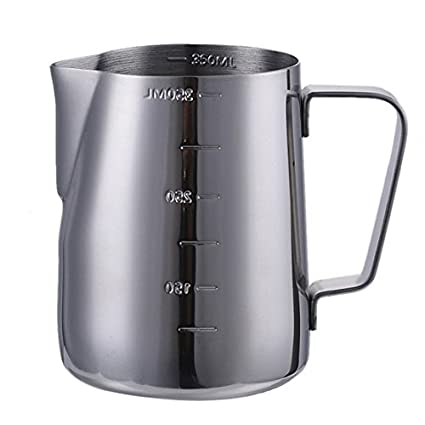 Para espuma de leche jarra con medidas a ambos lados, acero inoxidable taza de café