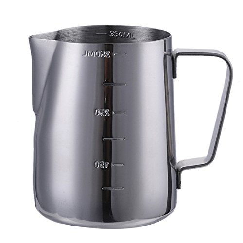 Samber 350 ML Steaming Pitcher Stainless Steel Milk Coffee Latte Frothing Garland Cup (with Volume Markings)