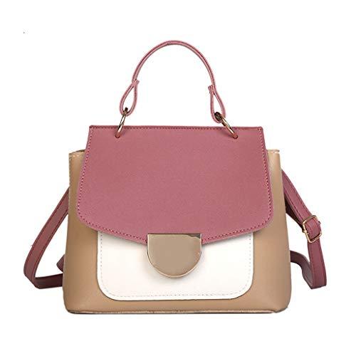 Rakkiss Solid Crossbody Bag Leather Messenger Bag Vintage Handbag Chain Bucket Square Tote Pink