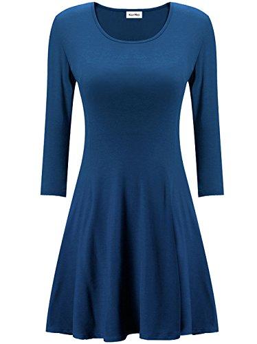 Kormei Femmes Occasionnels 3/4 Manches Longues Amincissent Encolure Ronde Robe Simple Tunique Top Bleu Marine