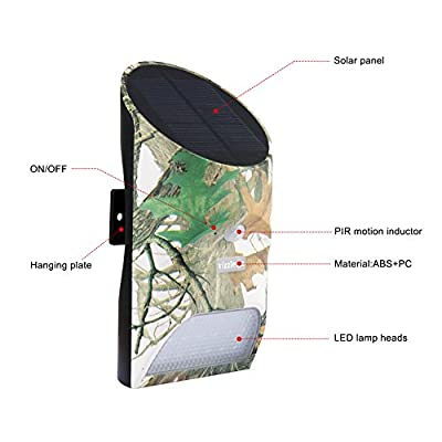 Feeder Hog Light Vizzlema Outdoor Solar Feeder Light for hunting with Motion Sensor and Green Light for Game Animal Hunting (Camouflage)