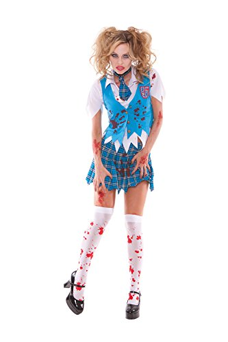 [Sexy Women's Zombie School Girl Specter Adult Roleplay Costume, X-large, Blue/Plaid] (Zombie School Girl Adult Womens Costumes)