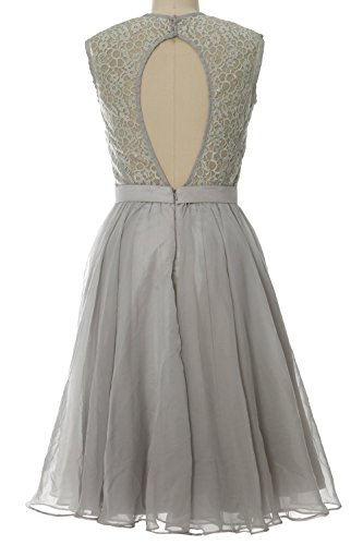 MACloth Women Chiffon Lace Illusion Short Prom Formal Dress Evening Party Gown Marrón