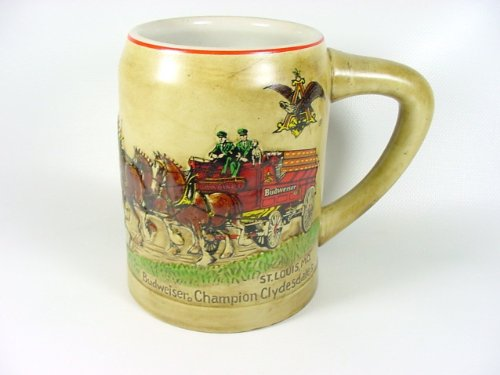 BUDWEISER, RARE, CHRISTMAS HOLIDAY BEER STEIN, 1980, FIRST YEAR OF ()