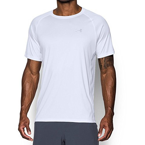 Under Armour Men's HeatGear Run Short Sleeve T-Shirt, White/White, (Performance Run Shirt)