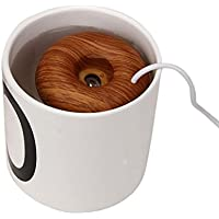 Cool Mist Humidifier,Elevin(TM)Portable Mini USB Donuts Humidifier Floats On The Water Air Fresher,for Car, Travel, Home, Offices, Outdoor, Bedroom, Living room, Dormitory, College, SPA, Yoga (Brown)