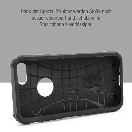 URCOVER® Coque Armor Protection Steel Series Hybrid | Apple iPhone 7 Plus | Noir | Housse Bumper Double Anti choc Étui Cover Integrale Case Compléte Arrière