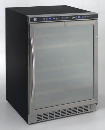 MAS WCR5404DZD 46 bottle, dual zone, built-in or free-standing wine cooler, stainless steel frame with mirror finish door by Avanti