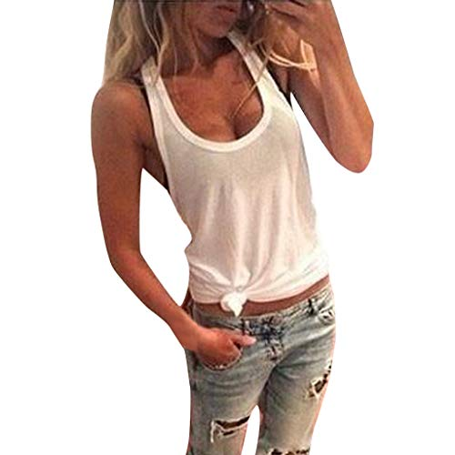 ⚡HebeTop⚡ Women Summer Fasion O Neck Solid Sleeveless Lace Shirt Casual Tank Tops Blouse Mini Vest White