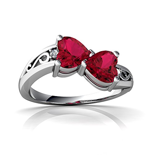 14kt White Gold Lab Ruby and Diamond 5mm Heart filligree Bypass Ring - Size 4.5