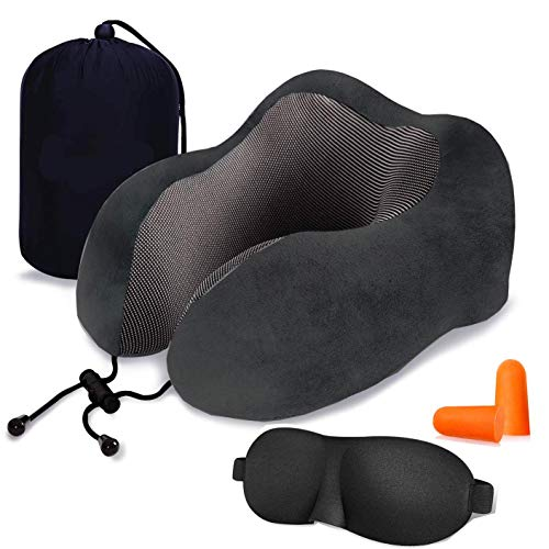 Neck Cushion - Lucear Travel Pillow Luxury Memory Foam Neck & Head Support Pillow Soft Sleeping Rest Cushion for Airplane Car with 3D Sleep Mask, Earplugs, and Luxury Bag (Black)