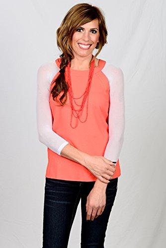 Sleevey Wonders Women's Basic 3/4 Length Slip-on Mesh Sleeves XL White by Sleevey Wonders (Image #6)