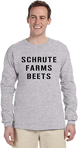 South Horizon Schrute Farms Beets Long Sleeve T-Shirt~Heather Gray~Adult-4X