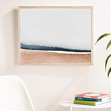 PLjVU Pintura de Acuarela Abstracta mínima Moderna impresión de Cartel de Arte Neutral Imagen de Arte de Pared Horizontal para Sala de Estar decoración del hogar-Sin marco40x50cm