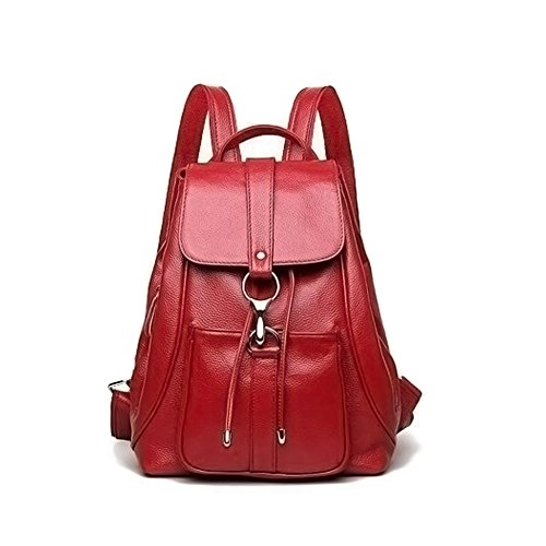 Backpacks Fanshu for Shoulder Bag Leather Real Travel Purse Brown Red Fashion Ladies Women qExE6r