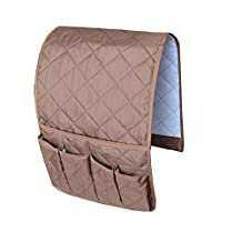 NOVADEAL Sofa Couch Chair Armrest Storage Organizer, Tools Holder Organizer with 5 Pockets, Fits for Phone, iPad, Book, Magazines, TV Remote Control - Coffee