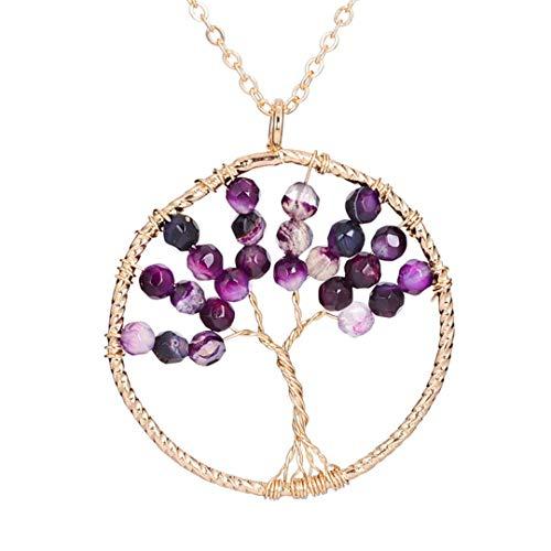 Rainbow Natural Stone Beads Tree Of Life Pendant Necklace Beautiful Healing 7 Chakra Pendants Necklaces Gold 8
