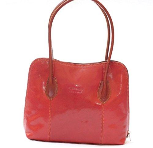 SUPERFLYBAGS Borsa a spalla o a mano in Vera Pelle Liscia e Lucida modello NICE made in Italy rosso+marrone