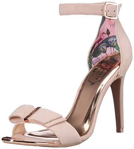 Ted Baker Women's HANMA Heeled Sandal, Nude Suede, 8 M US (Baker Print Dress Ted)
