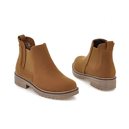 Ankle Womens Heel Chunky Lucksender Toe Platform High Round Brown Low Boots 06nXdX