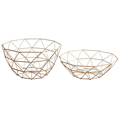 Baoyouni Modern Wire Fruit Bowl Red Wine Bread Storage Basket Serving Decoration for Kitchen Countertop, Dining Table, Coffee Shop, Bedside Tables, Set of 2 (Gloden) (Hampers Chocolate Wine)