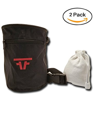 Free Face Gear Chalk Bag for Rock Climbing with Refillable Chalk Ball, Quick Clip-On Adjustable Waist strap, Large 2-Zipper design for Bouldering, Gymnastics, Cross-Fit, and Lifting by Free Face Gear