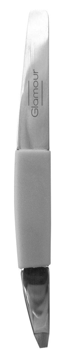 GLAMOUR INSTITUT - Pinzetta per sopracciglia con punta a martello, con custodia