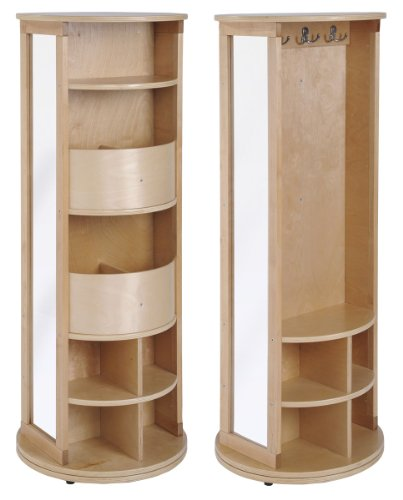 ECR4Kids Natural Birch Round Play Locker and Dress-Up Carousel with Mirrors and Storage -