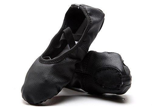 XW WX Les chaussures de ballet en cuir d'unité centrale d'adulte des enfants fondent des griffes de griffe de chat de fond mou 25-39 black vCUxPEpI0