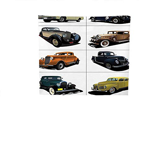QINYAN-HOME Polyester Tapestry Wall Hanging (19W x 19W Inch Wall Decor Bedroom Living Room DormCars Decor Set Rare Fifties Vintage Cars Closed Roof Tops Original Timeless Automobile Graphic Work MUL ()