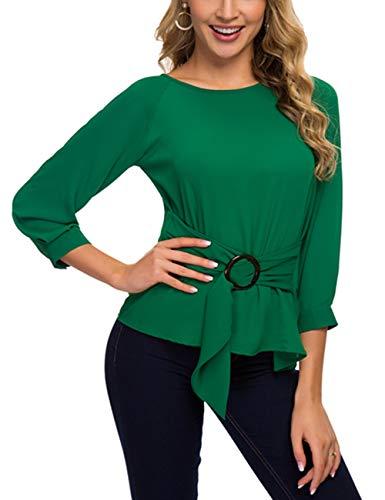 ACONIYAWomens Tie Knot Casual Belted Blouse Elegant Long/Short Sleeve Shirt Work Tunic Tops (Green, XL)