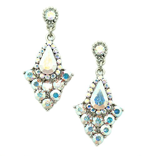 Art Deco Crystal Chandelier Drop Earrings (Crystal AB)