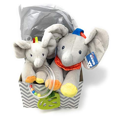 GUND Baby Flappy The Elephant Plush Rattle and Flappy The Elephant Activity Toy Gift Set Bundle with Gift Box and Tissue (4 Items)