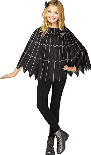 Fun World Little Girl's Spiderweb Child Poncho Childrens Costume, Black, ()