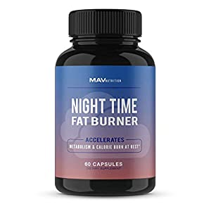 MAV Nutrition Weight Loss Pills Fat Burner for Night Time as Appetite Suppressant and Metabolism Boost, 60 Count