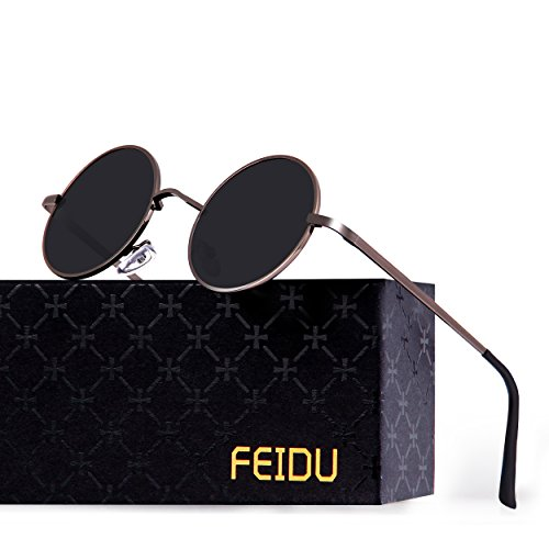 FEIDU Retro Polarized Round Sunglasses for Men Vintage Sunglasses Women FD3013 (black/gun, 1.81)