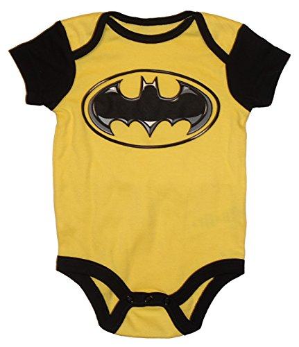 DC Comics Batgirl / Batman Logo Baby Boys & Girls Bodysuit Dress Up Outfit (6-9 Months, Black Yellow) ()