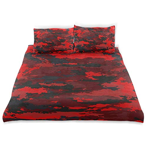 Bright Red Background - CANCAKA Camouflage Duvet Cover Set Camouflage Military Background Bright Red Design Bedding Decoration Twin Size 3 PC Sets 1 Duvets Covers with 2 Pillowcase Microfiber Bedding Set Bedroom Decor Acces