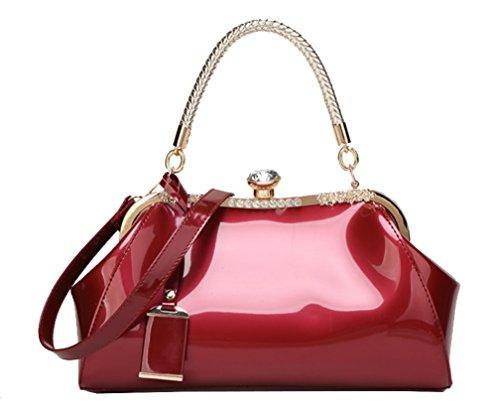 Pack Messenger Wine Show Red Handbag Yan Patent Shoulderbag Bag Women's Bride Leather HOwnTvWnqz