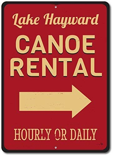 Canoe Rental Arrow Sign, Custom Hourly Or Daily Rates Lake Gift, Personalized Lake Location Name Metal Decor - 8x12 inch Metal Tin Sign Aluminum Signs