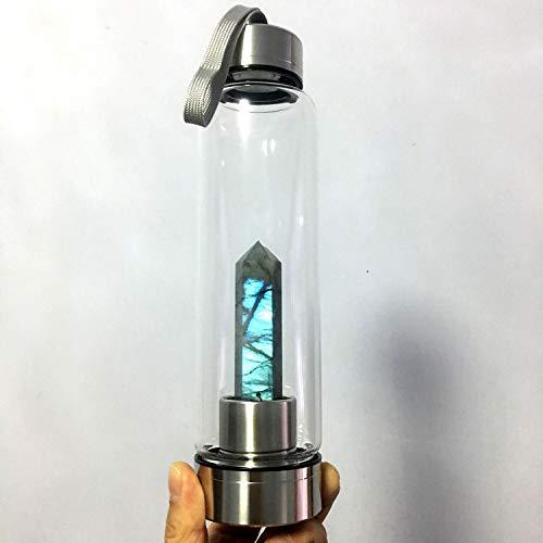 Newland Jewelry Various Crystal Water Bottle -Various Gemstone Infused Natural Wellness Healing – Glass/Stainless Steel (Labradorite)