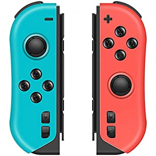 VOYEE Controllers Replacement for Nintendo Switch Joycon, L/R Joy Pad Wireless Controller with Grip/Turbo/Share Button/Motion Control/Double Shock Compatible with Nontendo Switch - Red and Blue