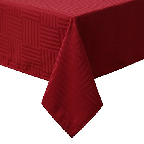 Sense Gnosis Red Striped Jacquard Waterproof Tablecloth Oil-proof Spill-proof Stain Resistant Rectangle Tabletop Cover for Kitchen Dining Table 60 x 84 Inch Holiday Decoration Table Cloths