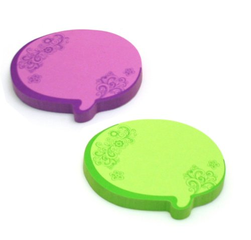 (Redi-Tag Thought Bubble Notes 2 Pads, 3 x 3 Inches, Neon Green/Purple (22102))