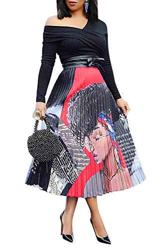 Womens Graffiti Pleated Skirts Elegant Cartoon Printed Elastic Waist Swing A Line Party Midi Skirt Clubwear Red Plus Size