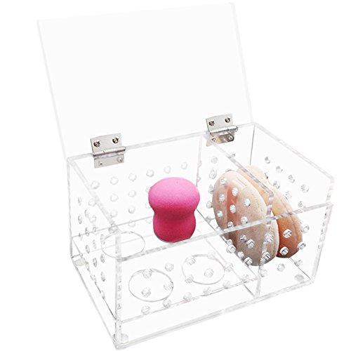 ZZ Lighting Great Ventilation Dustproof Clear Acrylic Beauty Sponge Blenders Organizer Comestic Sponge Puff Storage(Large)