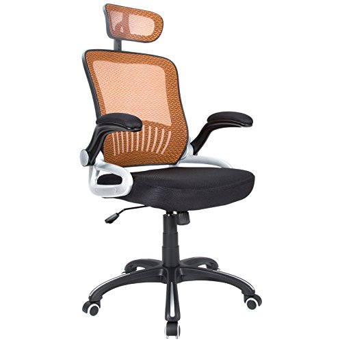 UPC 613102831344, H&L Office Mid Back Orange Mesh Executive & Managerial Computer Desk Swivel Office Chair with Headrest and Flexible Arm Rest